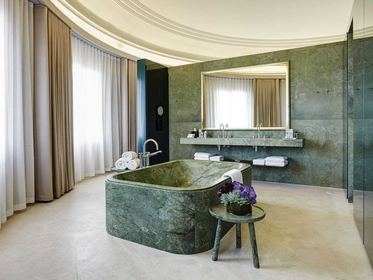 Dome penthouse hotel cafe royal london bathroom green marble